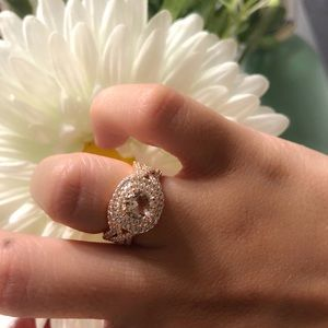 Double Halo Morganite CZ infinity Engagement Ring